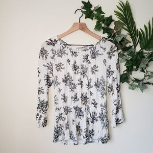 Lucky Brand Long Sleeve Floral Button Sleeve Top
